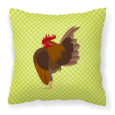 Chicken Check Canvas Outdoor Throw Pillow Color: Green