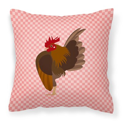 Chicken Check Canvas Outdoor Throw Pillow Color: Pink