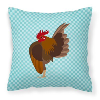 Chicken Check Canvas Outdoor Throw Pillow Color: Blue