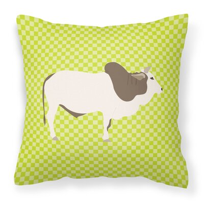 Eclectic Cow Check Square Outdoor Throw Pillow Color: Green