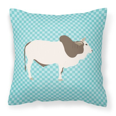 Eclectic Cow Check Square Outdoor Throw Pillow Color: Blue