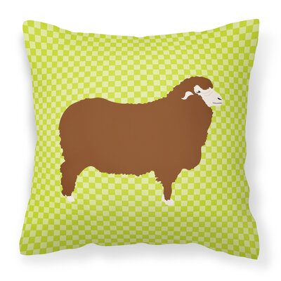 Sheep Check Square Fabric Outdoor Throw Pillow Color: Green