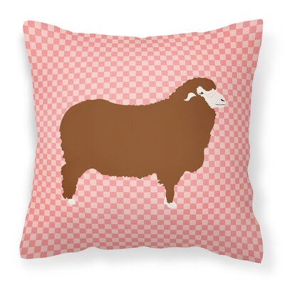 Sheep Check Square Fabric Outdoor Throw Pillow Color: Pink