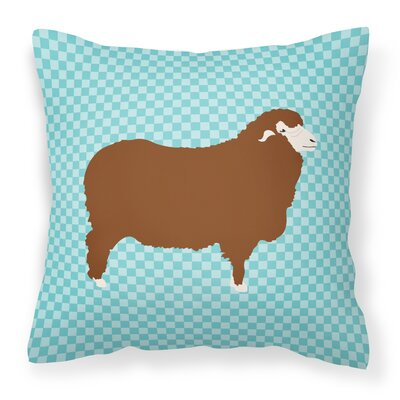 Sheep Check Square Fabric Outdoor Throw Pillow Color: Blue