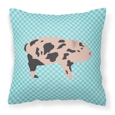 Pig Check Square Outdoor Throw Pillow Color: Blue