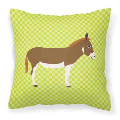 Donkey Check Square Fabric Outdoor Throw Pillow Color: Green