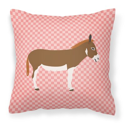 Donkey Check Square Fabric Outdoor Throw Pillow Color: Pink