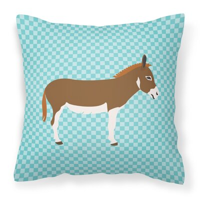 Donkey Check Square Fabric Outdoor Throw Pillow Color: Blue