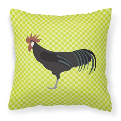 Eclectic Chicken Check Square Outdoor Throw Pillow Color: Green