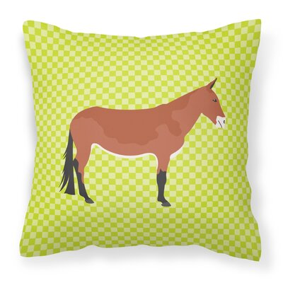 Mule Check Outdoor Throw Pillow Color: Green