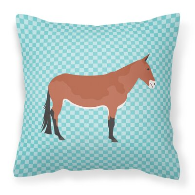 Mule Check Outdoor Throw Pillow Color: Blue