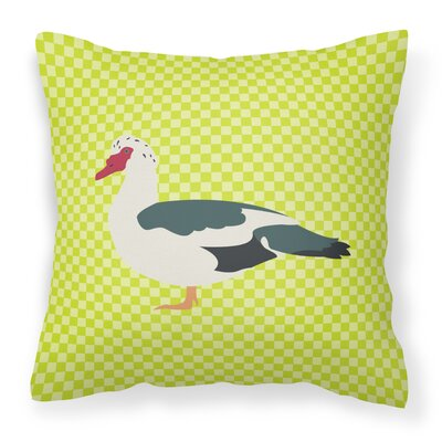 Eclectic Duck Check Square Outdoor Throw Pillow Color: Green
