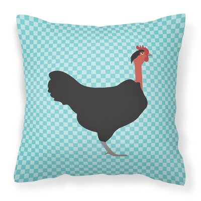 Eclectic Chicken Check Outdoor Throw Pillow Color: Blue