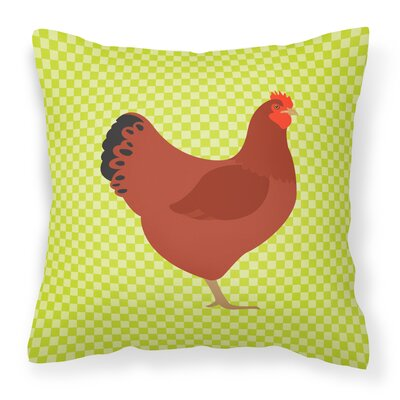 New Hampshire Chicken Check Outdoor Throw Pillow Color: Green