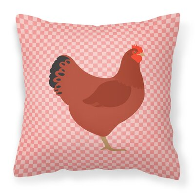 New Hampshire Chicken Check Outdoor Throw Pillow Color: Pink