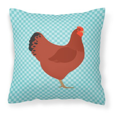 New Hampshire Chicken Check Outdoor Throw Pillow Color: Blue