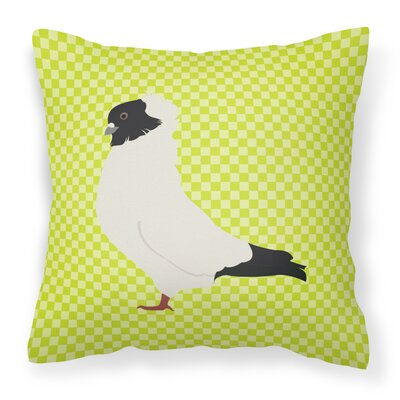 Eclectic Pigeon Check Square Outdoor Throw Pillow Color: Green