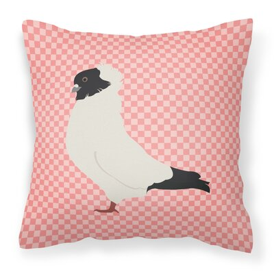 Eclectic Pigeon Check Square Outdoor Throw Pillow Color: Pink
