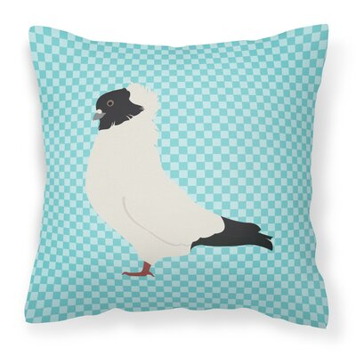 Eclectic Pigeon Check Square Outdoor Throw Pillow Color: Blue