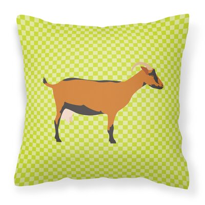 Goat Check Outdoor Throw Pillow Color: Green