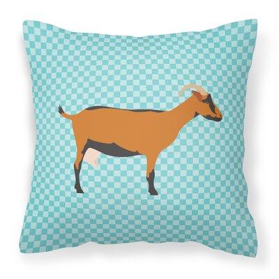 Goat Check Outdoor Throw Pillow Color: Blue