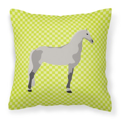 Horse Check Fabric Outdoor Throw Pillow Color: Green