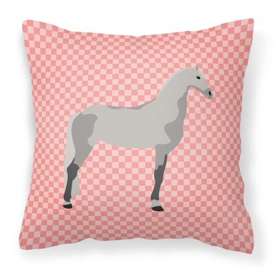 Horse Check Fabric Outdoor Throw Pillow Color: Pink