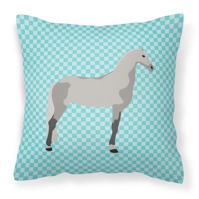 Horse Check Fabric Outdoor Throw Pillow Color: Blue