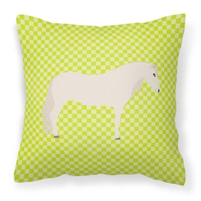Horse Check Square Outdoor Throw Pillow Color: Green