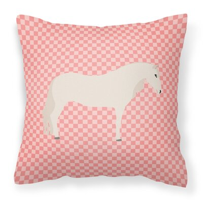 Horse Check Square Outdoor Throw Pillow Color: Pink