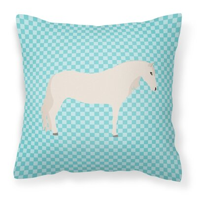 Horse Check Square Outdoor Throw Pillow Color: Blue