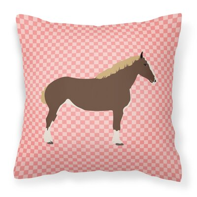 Horse Check Square Fabric Outdoor Throw Pillow Color: Pink