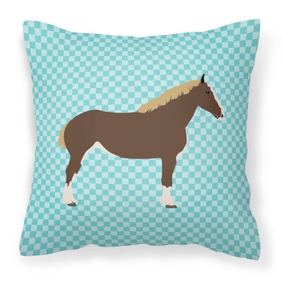 Horse Check Square Fabric Outdoor Throw Pillow Color: Blue