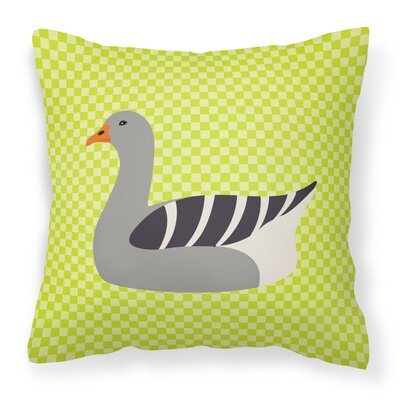 Eclectic Goose Check Square Outdoor Throw Pillow Color: Green