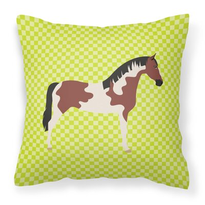 Eclectic Horse Check Outdoor Throw Pillow Color: Green