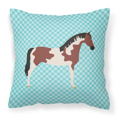 Eclectic Horse Check Outdoor Throw Pillow Color: Blue