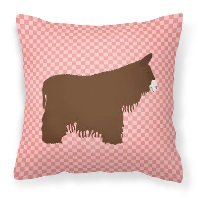 Eclectic Donkey Check Outdoor Throw Pillow Color: Pink