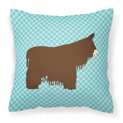 Eclectic Donkey Check Outdoor Throw Pillow Color: Blue