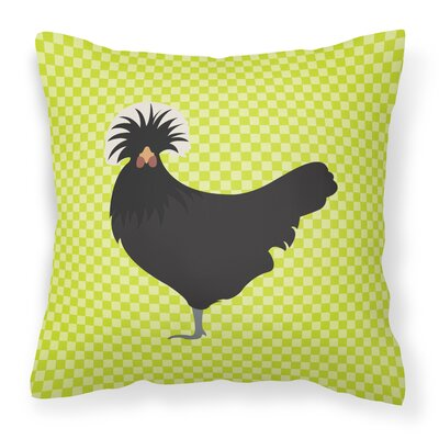 Chicken Check Square Fabric Outdoor Throw Pillow Color: Green