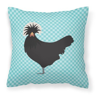 Chicken Check Square Fabric Outdoor Throw Pillow Color: Blue