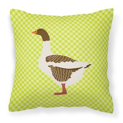 Goose Check Square Outdoor Throw Pillow Color: Green