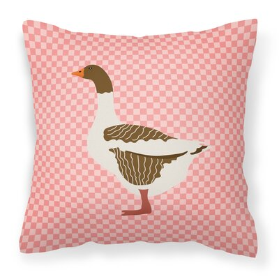 Goose Check Square Outdoor Throw Pillow Color: Pink