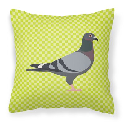 Eclectic Pigeon Check Fabric Outdoor Throw Pillow Color: Green