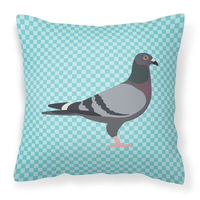 Eclectic Pigeon Check Fabric Outdoor Throw Pillow Color: Blue