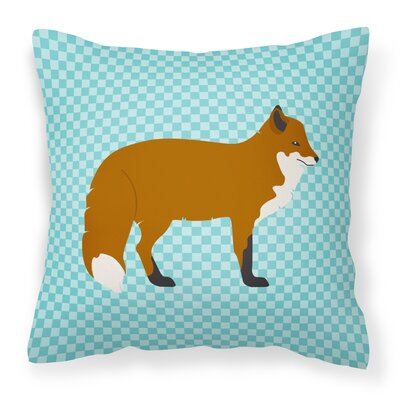 Fox Outdoor Throw Pillow Color: Blue