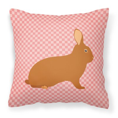 Rabbit Check Square Fabric Outdoor Throw Pillow Color: Pink