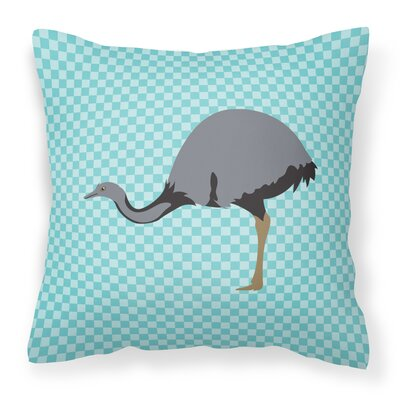 Rhea Check Outdoor Throw Pillow Color: Blue