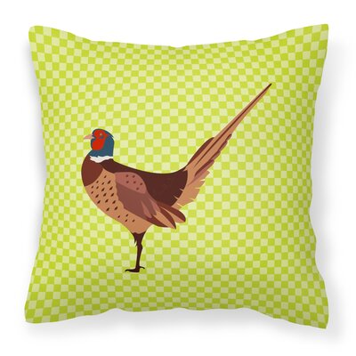 Ring-necked Common Pheasant Check Outdoor Throw Pillow Color: Green