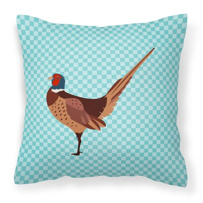Ring-necked Common Pheasant Check Outdoor Throw Pillow Color: Blue