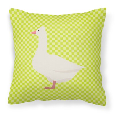 Eclectic Goose Check Outdoor Throw Pillow Color: Green
